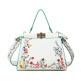Wholesale Extra Large Gift Bags - Women Winter embroidered flower shoulder Bags Fashion Zipper Lock Leather Handbag Casual Messenger Bag Best Gift