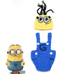 Wholesale Despicable Costumes - Latest Crochet Baby Minions Hat&Suspender Pants Set Handmade Infant Baby Photo Costume Despicable Me Photo Props 1set