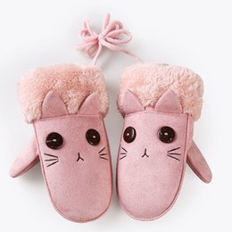 Wholesale Wholesale Pink Baby Mittens - Cartoon Baby Winter Gloves Girls Mittens Warm Full Finger Gloves Kids Children Faux Suede Halter Gloves Boy VF0143