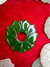 Wholesale Womens Necklace Free Shipping - Wholesale Jade Flower Green Jade Pendants for Jewelry necklace man and Womens jewelry Natural Jade Flower free shipping F1Z1