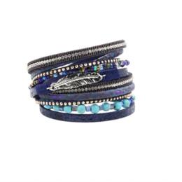 Wholesale Food Gold Leaf - Bracelet Fashion Bracelets & Bangles For Women Trendy Multi Rows Rhinestone Set Leaf Blue Stone Beads Printed PU Leather
