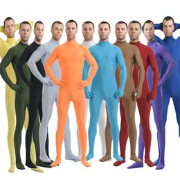 Wholesale Spandex Full Body Suit Skin - Wholesale-Mandy Custom Second Skin Tight Suits Lycra Zentai Suit No Hood Black Mock Neck Spandex Unitard Mens Cosplay Full Body Bodysuits