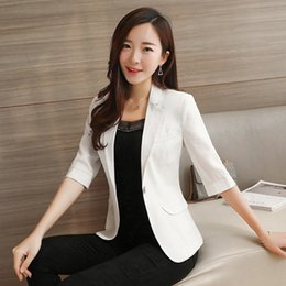 Wholesale Plus Women Business Suit - Casual Blazer Women Jacket Summer 2017 Female Business Suit Plus Size Blazer Feminino Manga Longa Office Blazers Slim 70N046