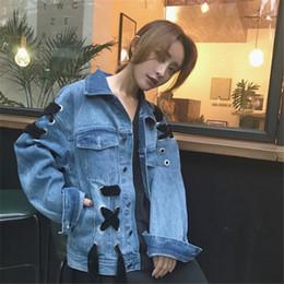 Wholesale Denim Vests For Women - Wholesale free shipping Long Sleeve Women's Denim Jacket And Coat Korea Style Cowboy Bandage Jackets For Women