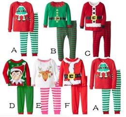 Wholesale Kids Stripe Tops - New Kids Christmas Sleepwear Children Clothing Boys Girls Cotton Deer Stripe Tops Pants Pajamas Santas Little Helper Sleepwear Sets