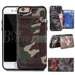 Wholesale Camo Wallets - Army Camo Wallet Case Fashion Luxury Multifunction Camouflage PU & TPU Card Solt Stand Cover For iPhone 6 7 Plus Galaxy S6 S7 Edge