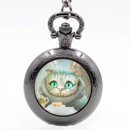 Wholesale Cheshire Cat Necklaces - Wholesale- Alice in Wonderland Cheshire Cat Quartz Pocket Watch Pendant Necklace Mens Watch Womens Watch Boys Girls Gift
