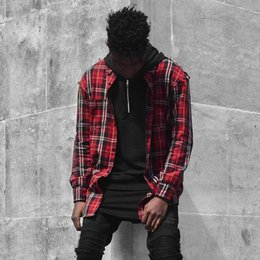 Wholesale Men S Plaid Flannel Shirt - Red Plaid Shirts For Men Hip-Hop Streetwear High Quality Cotton Long Shirts Vintage Checked Casual Shirts Spring Autumn Outerwear OSG1008