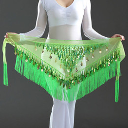 Wholesale Tassel Waist Scarves - 2016 Newest Style coins belly dance waist chain indian dance hip scarf bellydance belt for women & dancers
