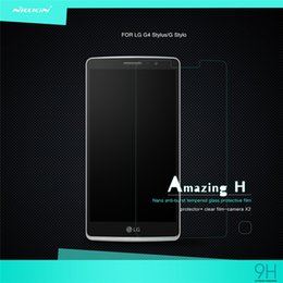 Wholesale Stylus Retail Box - Original NILLKIN Amazing H Nanometer Anti-Explosion Tempered Glass Screen Protectors For LG G4 Stylus G Stylo With Retail Box