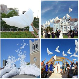 Wholesale Bird Balloons - Hot Sales 500pcs lot white bio dove pigeons bird helium balloons wedding party event decorations size 105*45cm Free Shipping