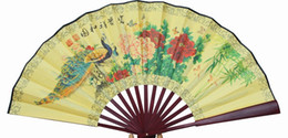 """Wholesale Handicraft Cloth - 10"""" Classic Large Flower Folding Fan Ethnic Handicrafts Gift Home Decoration Chinese Silk Cloth Mens Hand Fans"""