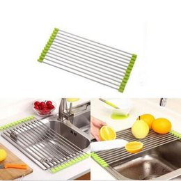 Wholesale Used Dryers - Easy To Use Foldable Kitchen Sink Rack Stainless Steel Dish Cutlery Drainer Drying Holder Useful Kitchen Tools CCA6392 48pcs