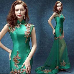 Wholesale Evening Cheongsam - 2017 New Evening Dress Chinese Style In Cheongsam Green Lace Mermaid High Collar Floor-Length Sexy Prom Dress Junoesque Casual Dress