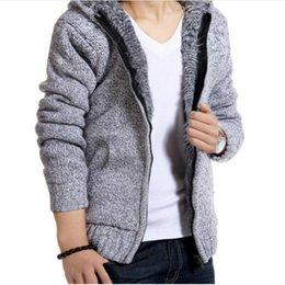Wholesale Mens Purple Cardigan Sweater - Jacket Men Thick Velvet Hooded Fur Jackets Mens Winter Padded Casual Knitted Sweater Cardigan Coats Outwear Sweatshirts Parkas