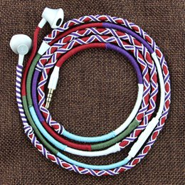 Wholesale Headphone Tangle - Handmade Fabric Braided Tribe Style Thread Wrapped Ergonomic Stereo Earphone Tangle-Free Built-In Mic Function Support for Iphone Headphone