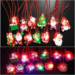 Wholesale Toys Favors - Glow up Flashing LED Necklace for Christmas Kids Toy Red Chain LED Light Cartoon Santa Claus Pendant Necklace Party Favors Xmas Decorations