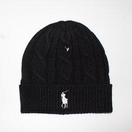 Wholesale Logo Knit Caps - Hot Brand Knitted hat with horse logo Autumn Winter woolen caps for Men women Warm Hat Heavy Hair Ball Twist Beanies