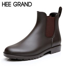 Wholesale sexy platform ankle boots - Wholesale- HEE GRAND Sexy Rain Boots 2016 Women Ankle Boots Casual Platform Shoes Woman Slip On Creepers Casual Flats Size 35-43 XWX4080