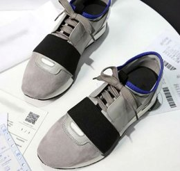 Wholesale Men White Shoes Strap - 2017 Newest Designer Name Brand Man Woman Shoes Flats Chaussure Fashion Nude Black Mesh Leather Lace up Trainer Casual Shoes
