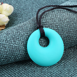 Wholesale Latex Necklace - DHL Silicone Round Teething Pendant Necklace Baby Pacifier Dummy Soother Chewing Teether Jewelry