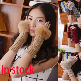 Wholesale Wholesale Ladies Fingerless Fur Gloves - New Style Knitted Gloves Women Lady Winter Knitted Fingerless Faux Rabbit Fur Wrist Hand Warmer Mitten XMAS Gifts Free Shipping WX-G07