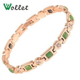 Wholesale Negative Ion Bracelet Health - Jewelry Health Stainless Steel Green Gade White CZ Rose Gold Color Germanium Negative Ions Hematite Bracelet For Female