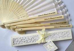Wholesale Personalized Hand Fans Wedding - Personalized Luxurious Silk Fold hand Fan in Elegant Laser-Cut Gift Box +Party Favors wedding Gifts+Printing
