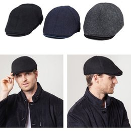 Wholesale Driving Beret - Solid Color Wool Felt Gatsby Cap Mens Ivy Golf Driving Winter Flat Cabbie Newsboy Beret Hat A411