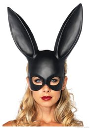 Wholesale White Bunny Costume - 2017 New Cheap Price bunny Mask rabbit half face eye mask Halloween Costume Theater Prop Novelty Hot Sales (3colors:black white gold)