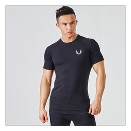 Wholesale Tight Shirts Sport For Men - T Shirts for Men Summer Fashion O-neck Mens Sport Bodybuilding Gym Tight Breathable Short Sleeves T Shirts US Sizes:XS-L