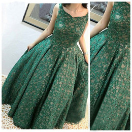 Wholesale Scattered Light - 2017 Green Lace Evening Dresses Scatter Beaded Ball Gown Floor Length Evening Gowns Vestidos De Formatura