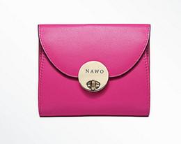 Wholesale Big Money Wallet Leather - 2017 Bayan Cuzdan Luxury fashion Wallet Women Genuine Leather Short Wallets Big Button Clutch Bags Money Pocket Women's Purses