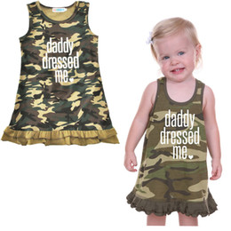 Wholesale Girl Sundress Jumper Skirt - Kids Camouflage Sleeveless Jumper Skirt Baby Girls Cotton Sundress Children Summer Casual Clothing Army Green Dress