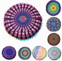 Wholesale Cushion Covers Round - 43*43cm Round Cushion Pillow Covers Mandala Meditation Floor Pillows Cover Indian Tapestry Bohemian Pouf Throw Round Cushion Cover 522