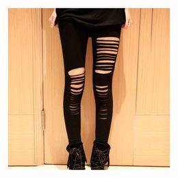 Wholesale Slash Leggings - Wholesale- Fation Sexy Hot Black womens Ripped Torn Slashed Leggings Pants