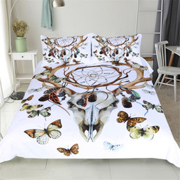 Wholesale 3d butterfly comforter set - 2017 New Horns Butterfly Hunting Dream Net Bedding Sets 3pcs 100% Polyester Home Textiles (Size: Twin Full Queen King)