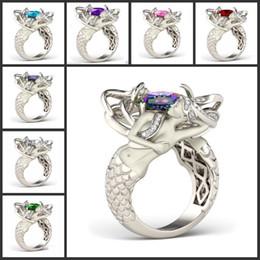 regali speciali di disegno Sconti Dimensione 5-10 Mystic Rainbow Topaz Colorful CZ Diamond 925 Sterling Silver Charme Mermaid Band Ring speciale regalo Gioielli di design unico