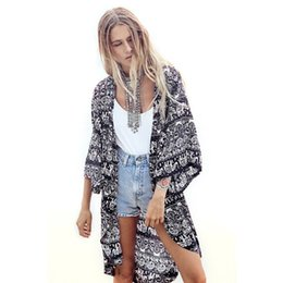 Wholesale Wholesale Half Sleeve Shirts - Wholesale- New Fashion Casual Chiffon Outwear Women Printed Half Sleeve Kimono Cardigan Coat Tops Shirt Loose Jacket female blusas