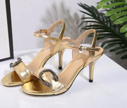 Wholesale Comfortable Gold Sandals - European station new leather open toe thin high heel metal snake buckle fashion sandals gold cat heels sexy comfortable sandals