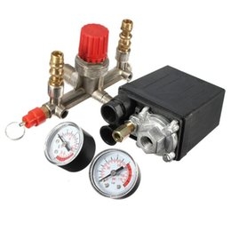 Wholesale Control Air Pressure Regulator - Heavy Duty Valve Gauges Regulator 230V Air Compressor Pump Pressure Control Switch + 2 Valve Press Gauges