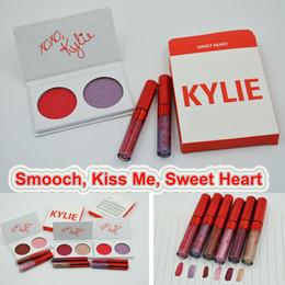 Wholesale Valentine Gifts Wholesalers - Kylie Valentines Kyshadow Eyeshadow palette +Lipstick Duos Kylie Jenner Eye shadow 2 Color Eye Shadow with lipgloss Comestic Valentine Gift