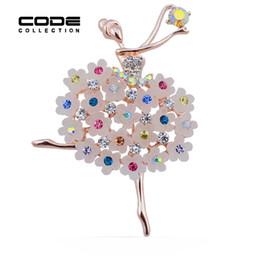 Ballerina di cristallo di brooch online-Commercio all'ingrosso- New Fashion Ballerina Strass Spille per donne Balletto di danza ragazze colorate perni di cristallo per i regali