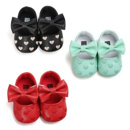 Wholesale Toddlers Girls Princess Cotton - PU Leather Baby Boy Girl Shoes Non-slip moccasins soft Genuine Leather Toddler Girls Bow love shoes princess Bowknot