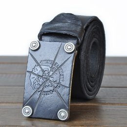 Wholesale Genuine Handmade Leather Belts - Men's Retro Handmade First Layer Of Leather New Genuine Leather Casual Smooth Buckle Cowskin Belt for male