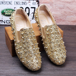 Wholesale Shinny Fabric - Men Loafers Wedding Shoes Stud Slip on British Style Man Dress Shoes Shinny Crsytal Rivets Flats Gold Black Casual Men Shoes