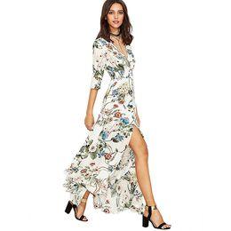 Wholesale Dress Beach Night - Long Floral Maxi Dress Boho Long Dress Elegant Beach White Floral Print Half Sleeve Button Front A Line party Shirt Dress