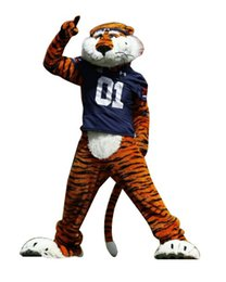 Wholesale Christmas Party Outfit Characters - Professional Auburn Tigers Mascot Costumes Cartoon Character Christmas Birthday Party Fancy Dress Carnival Outfit Free shipping LLFA