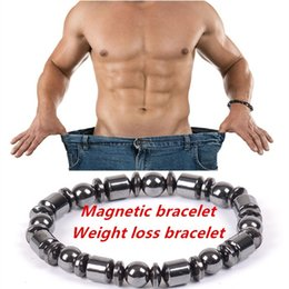 Wholesale Multi Strand Clasps - Fashion Men Biomagnetic Multi-shaped Black Stone Magnetic Bracelet, Magnetic Health Weight Loss Hand