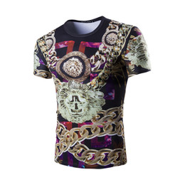 Wholesale T Shirt Chain - Mens T-Shirt Streetwear with Chain Imprint Short Sleeve Slim Fit 11715